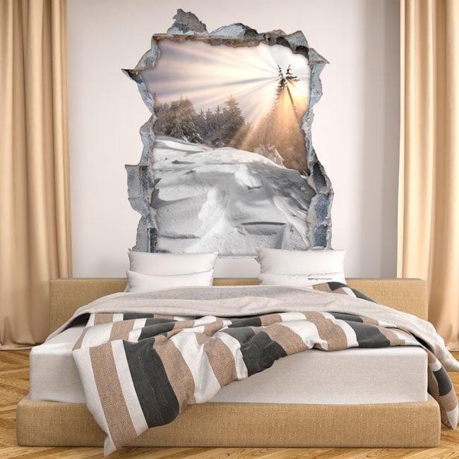 Mur de vinyle cassé montagnes neigeuses