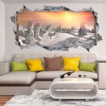 Coucher du soleil 3D de vinyle dans les montagnes enneigées