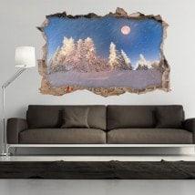 Vinyl 3D lune hiver neige montagne