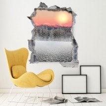 Sommets enneigés 3D vinyle coucher de soleil