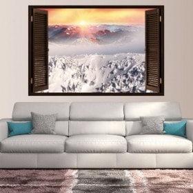 Montagnes enneigées de coucher de soleil neige de fenêtres en vinyle