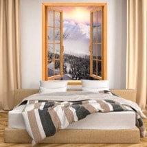 Windows 3D montagnes neige coucher de soleil