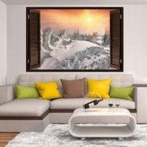Fenêtres en vinyle 3D coucher de soleil dans les montagnes enneigées