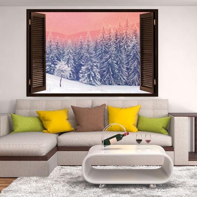 Fenêtres en vinyle 3D neige dans les montagnes