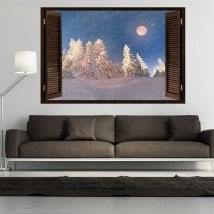 Windows 3D lune hiver neige montagne