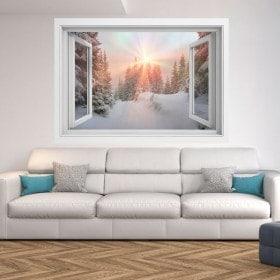Montagnes enneigés 3D sunbeams Windows
