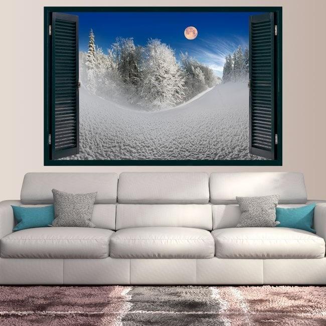 Lune de fenêtres de vinyle dans les montagnes enneigées