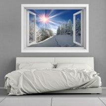 Rayons de soleil Windows vinyle 3D montagnes neigeuses