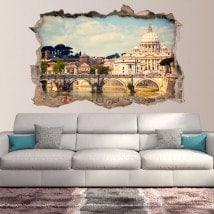 Pont de 3D de vinyle Sant'Angelo et Basilique San Pedro