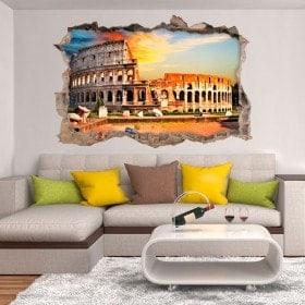 Vinyle mural brisé Colisée Rome en 3D