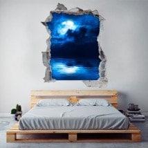 Vinyl 3D pleine lune sur la mer