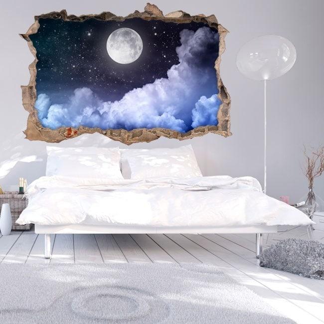 Vinyl mural brisé lune 3D