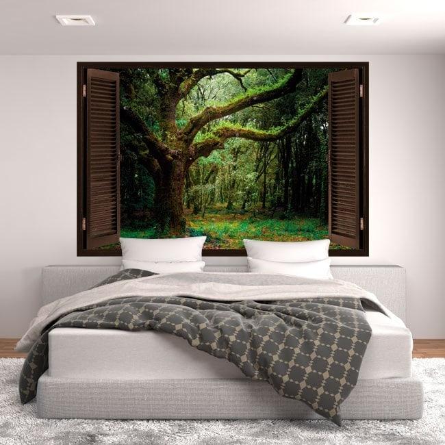 Windows dans la nature les arbres 3D vinyle