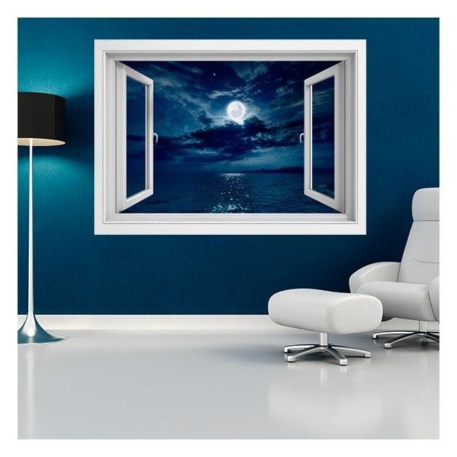 Lune 3D de vinyle fenêtres sur la mer