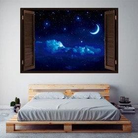 Fenêtres en vinyle 3D lune et étoiles