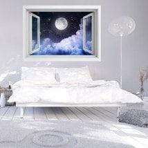 Fenêtres en vinyle pleine lune 3D French 5734