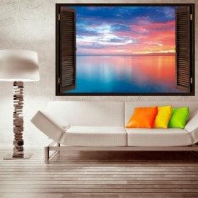 Vinyl windows 3D nuages dans la mer