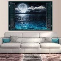 Fenêtres en vinyle 3D lune et mer