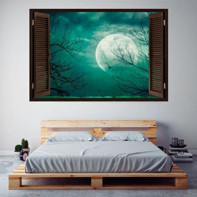 Fenêtres en vinyle pleine lune 3D French 5742