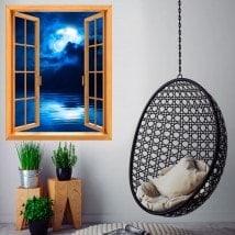 Windows 3D pleine lune sur la mer