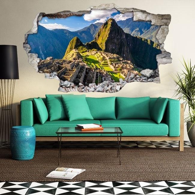 Mur de trou de vinyle 3D Machu Picchu