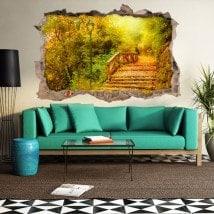 Automne de vinyle 3D pont arbres
