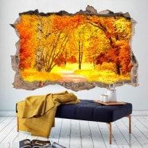 Mur 3D vinyle broken road et arbres