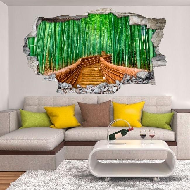Mur 3D vinyle broken road et bambous