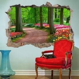 Tracé 3D vinyle entre arbres et fleurs