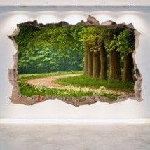 Arbres et vinyle 3D murs route