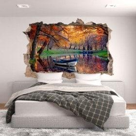 Vinyle trou mur bateau sur le lac
