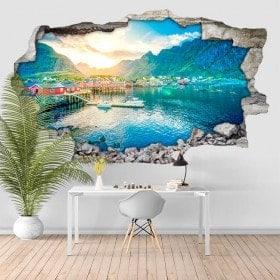 Vinyle sunset Norvège 3D
