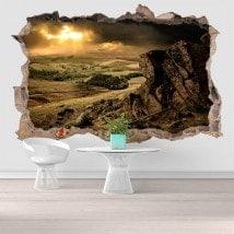 Vinyl 3D coucher de soleil dans les montagnes French 5811