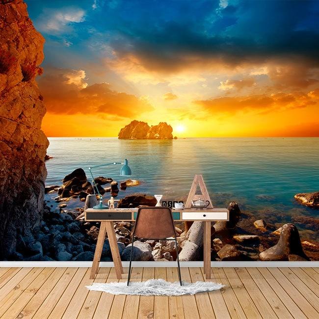 Fotomural murale soleil couchant sur la mer