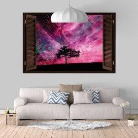 Vinyl windows 3D arbre ciel étoile