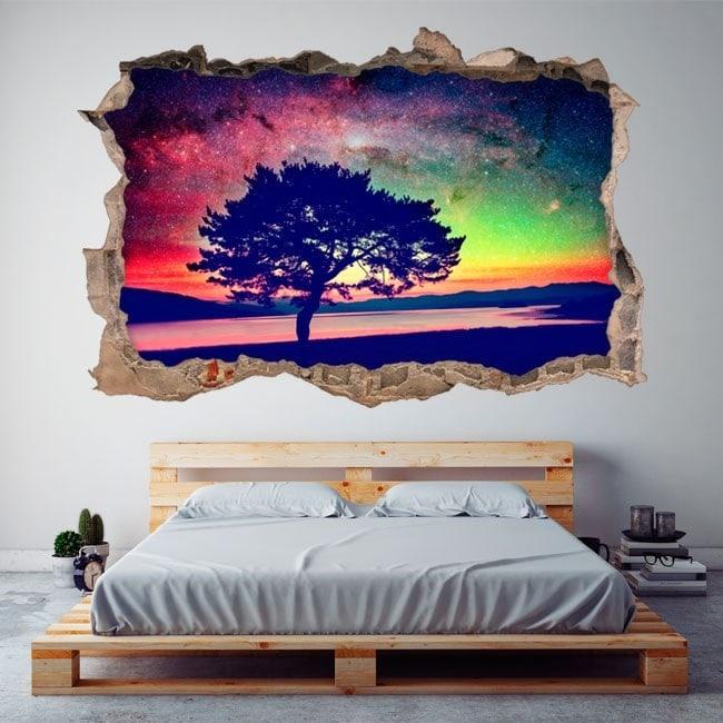 Star de vinyle 3D arbre ciel