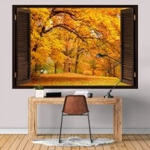 Windows en automne arbres 3D vinyle