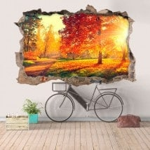 Nature d'arbres 3D vinyle trou mur French 5838