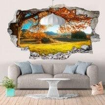 Vinyl mural 3D pré d'arbre tournant