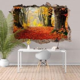 Nature d'arbres 3D vinyle trou mur