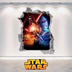 Vinyle Star Wars 3D cassé de mur