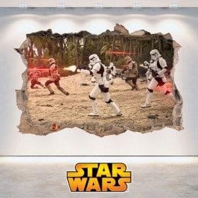 Star Wars autocollants trou mur 3D