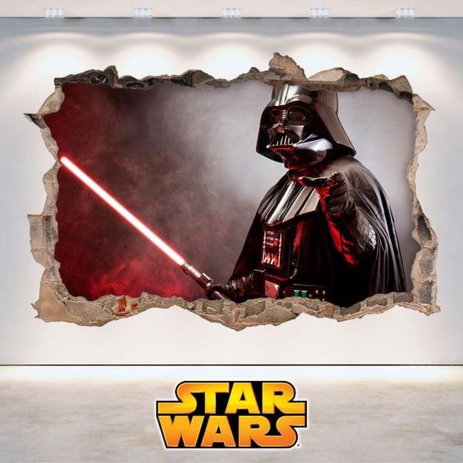 Mur 3D de vinyle Star Wars trou