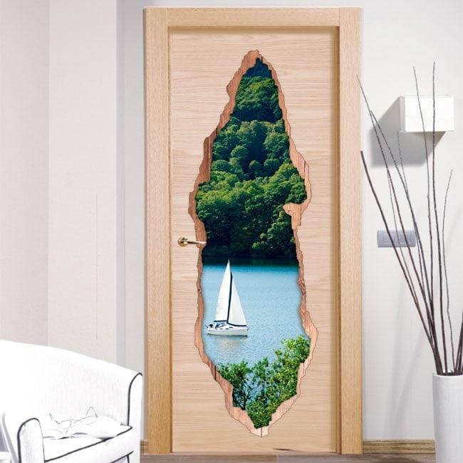Vinyle de voile lac portes 3D
