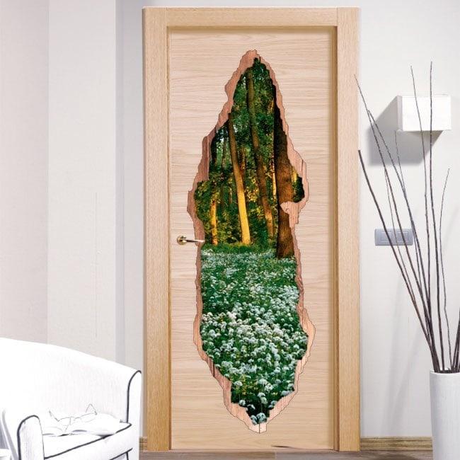 Vinyls pour les fleurs de portes en forêt 3D