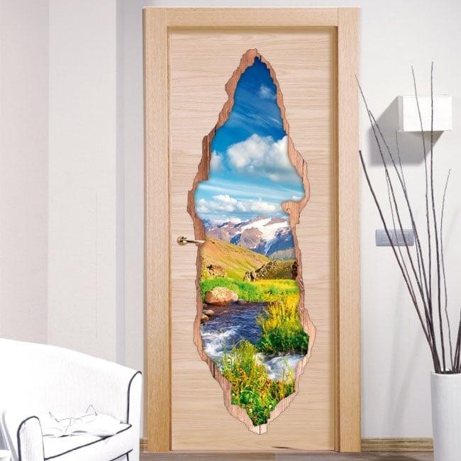 Vinyle pour portes Brook en montagne 3D