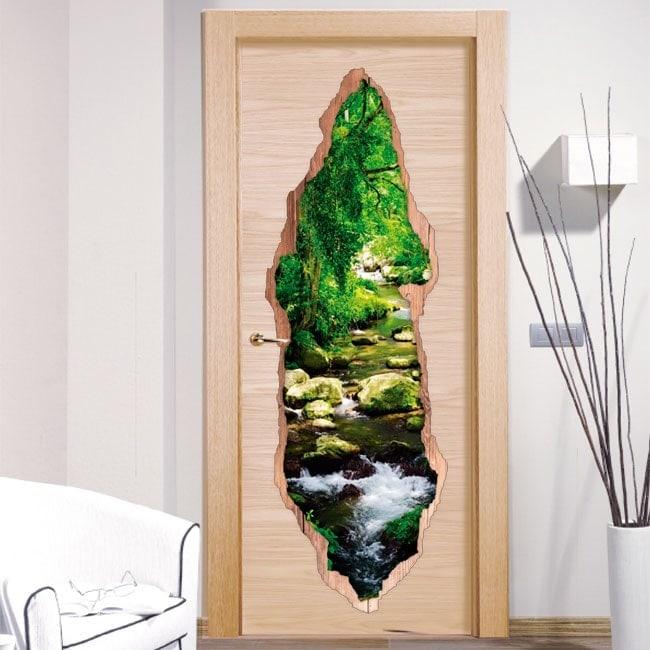 Vinyle portes Brook dans forêt 3D