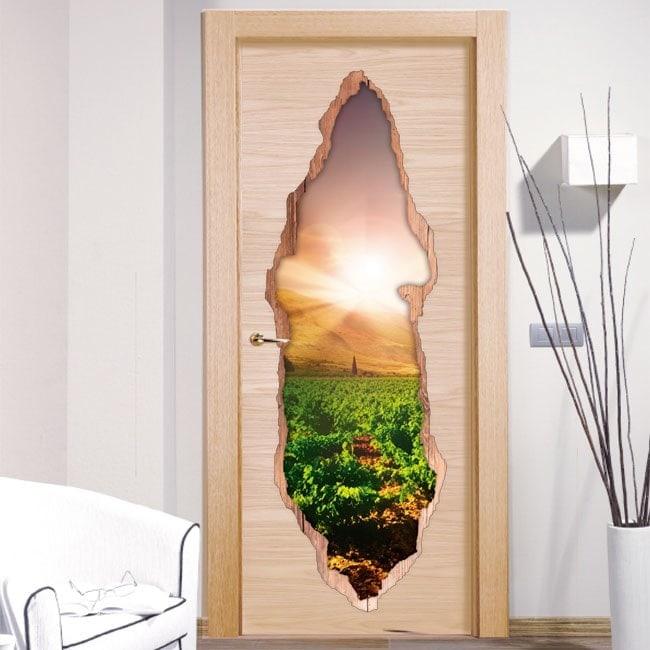 Coucher de soleil dans le vinyle de portes 3D du vignoble