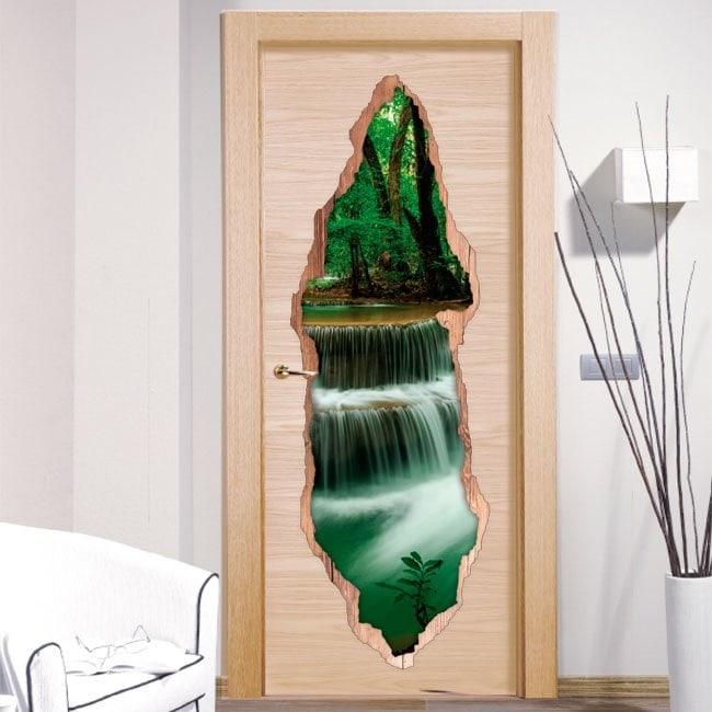 Vinyle portes nature cascades 3D