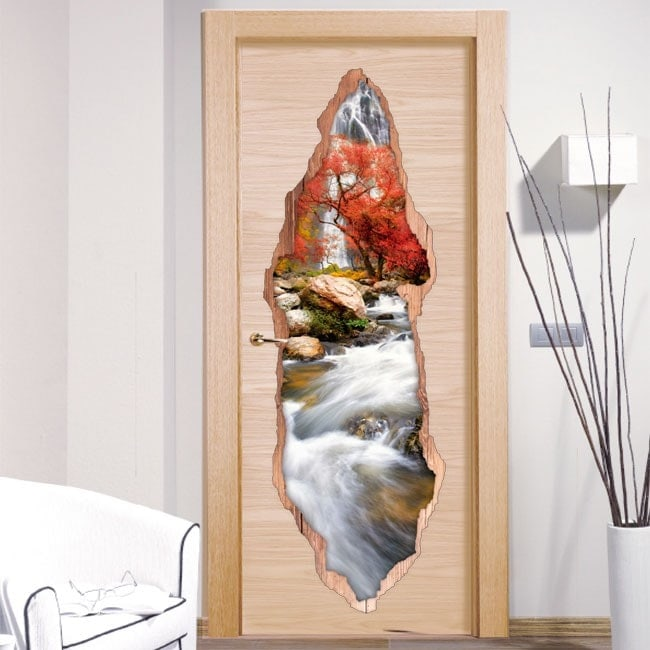 Nature de vinyle porte cascade 3D